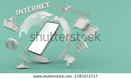 Smartphone white screen Within the simulated world Surrounded by a satellite, Like symbol, chat symbol, wifi symbol And internet characters Separate on the Green background, illustration,3D rendering.