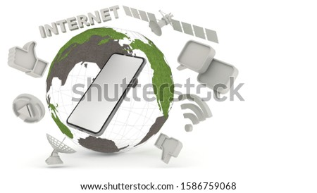 Smartphone white screen Within the simulated world Surrounded by a satellite, Like symbol, chat symbol, wifi symbol And internet characters Separate on the White background, illustration,3D rendering.
