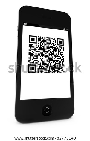 Smartphone with a QR bar code on the display - stock photo