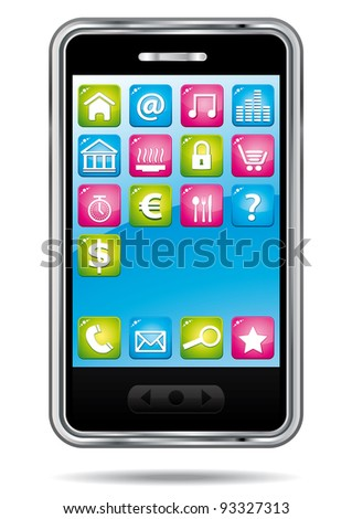 Smartphone with applications icons.