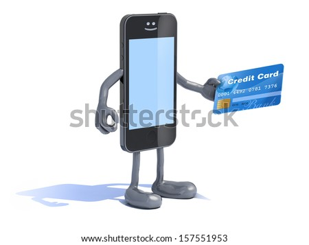 smartphone with arms and legs and credit card on hand, 3d illustration