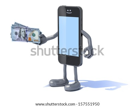 smartphone with arms and legs and new 100 dollar notes on hand, 3d illustration