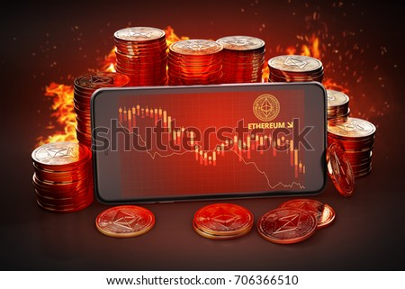 Smartphone with Bitcoin decline chart on-screen among piles of Bitcoins. Bitcoin decline concept. 3D rendering