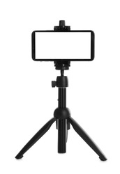 Smartphone with blank screen fixed to tripod on white background, mockup for design