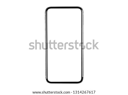 Smartphone with blank screen mock up. Smartphone isolated screen. Mobile phone white screen with copy space isolated on white background. Empty space for text. Isolated white screen #1314267617