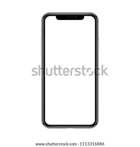 Smartphone with blank white screen. Isolated on white background. Realistic  illustration.