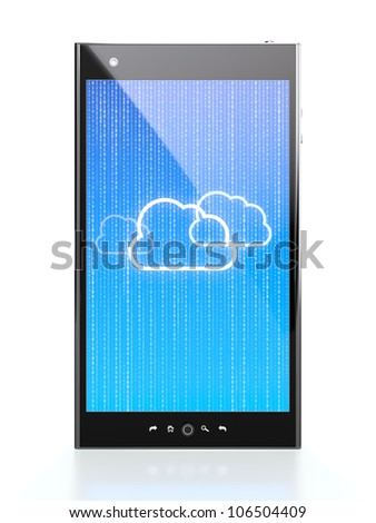 Smartphone with blue cloud computing diagram on screen
