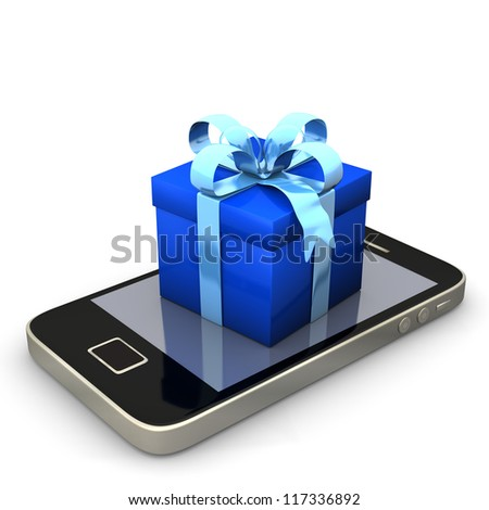 Smartphone with blue gift on the white background.