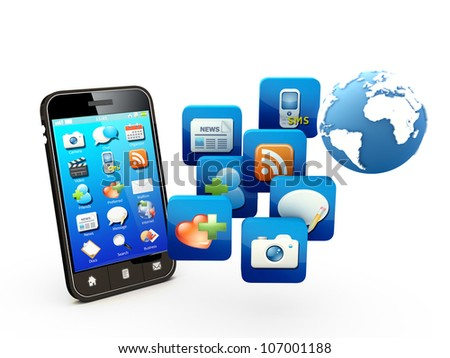 Smartphone with cloud of application icons  Note: All Devices design and all screen interface graphics in this series are designed by the contributor him self.