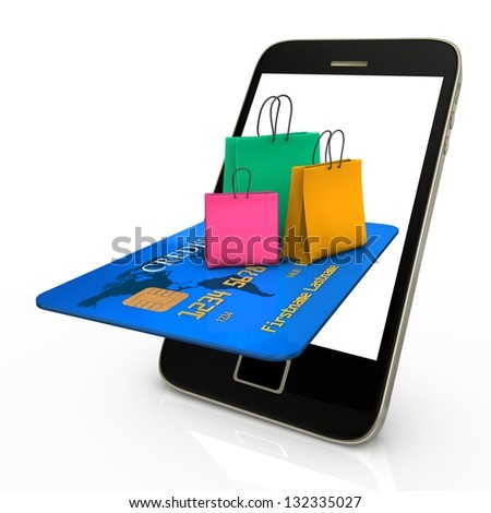 Smartphone with credit card and colorful shopping bags.
