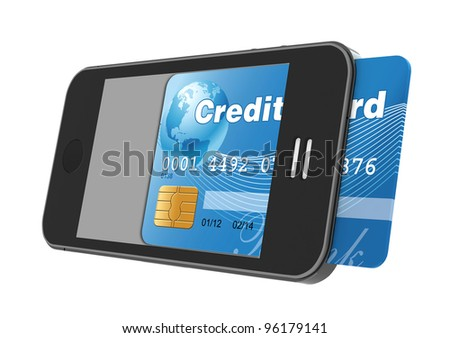 smartphone with credit card, concept digital payment, 3d illustration