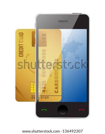 smartphone with credit card, concept digital payment illustration design