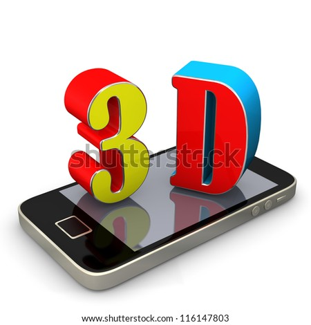 Smartphone with 3d text. White background.