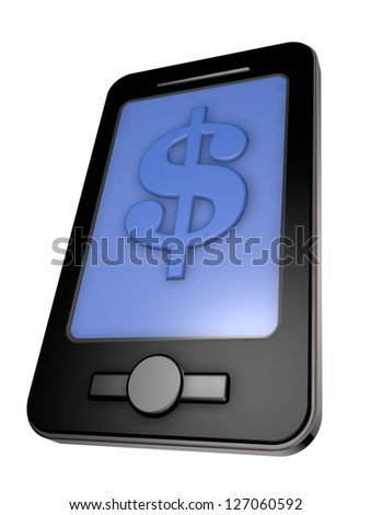 smartphone with dollar symbol - 3d illustration