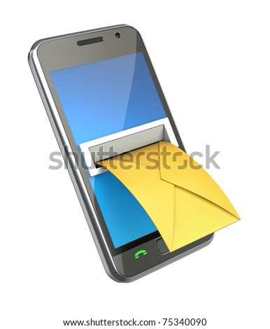 Smartphone with envelope in the letterbox