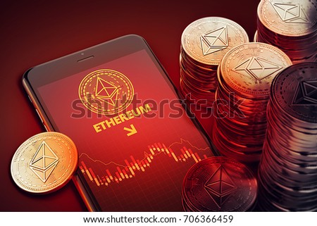 Smartphone with Ethereum decline chart symbol on-screen among piles of Ether. Ethereum decline concept. 3D rendering