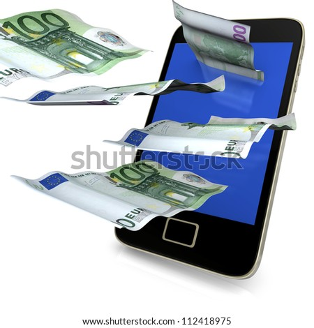 Smartphone with flying 100 euro notes on the white background.