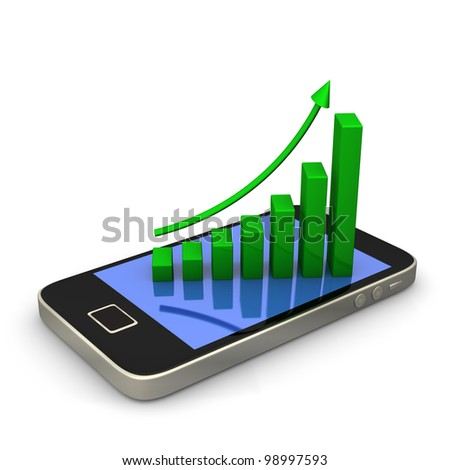 Smartphone with green chart on white background.
