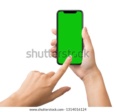 Smartphone with green chroma key screen for mockup in female habd, isolated on white background