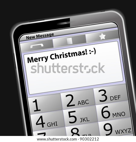 Smartphone with 'Merry Christmas' sms on the screen