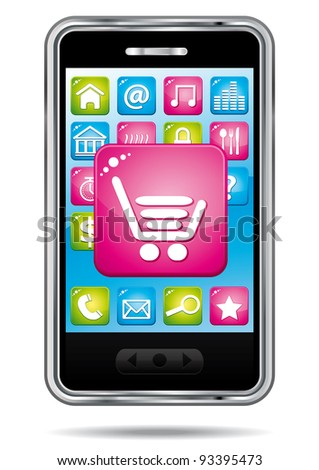 Smartphone with open store application. E-commerce icon.