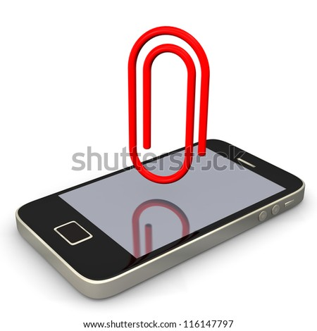 Smartphone with paperclip on the white background.