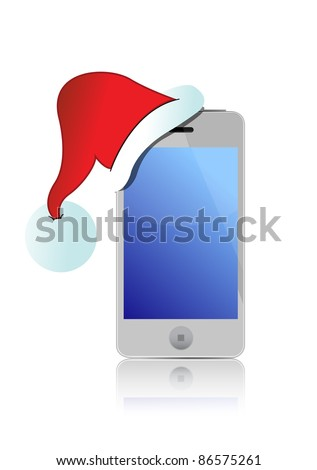 smartphone with Santa's red hat