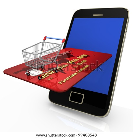 Smartphone with shopping cart and credit card on white background.
