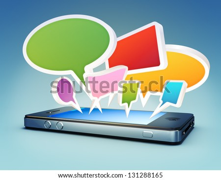 Smartphone with social media chat bubbles or speech bubbles extruding from the screen.