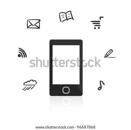 Smartphone with touch screen. Around the device hand-drawn icons.
