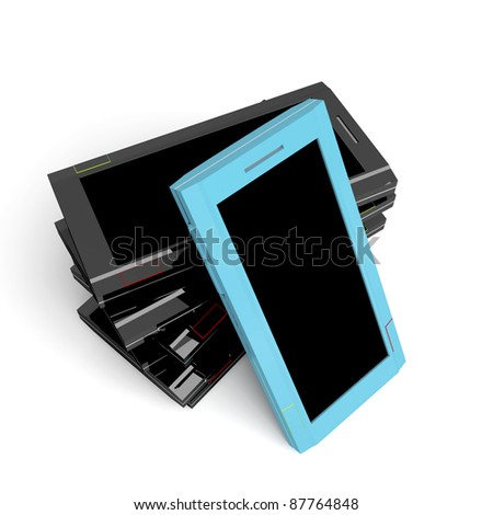 Smartphone with turquoise color against old black smartphones