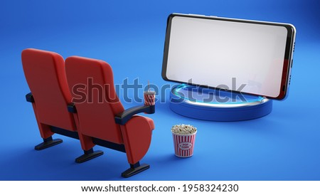 Smartphone with white screen, Cinema chairs, Popcorn and Cola on blue background. Online cinema, movie from home concept. 3d rendering