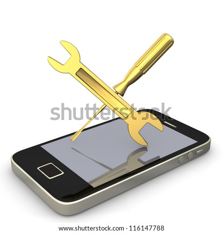 Smartphone with wrench and screwdriver. White background.