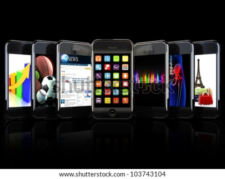 Smartphones, apps, and uses concept on a black background