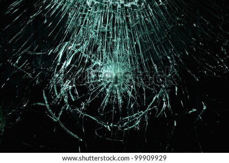 Smashed glass in black