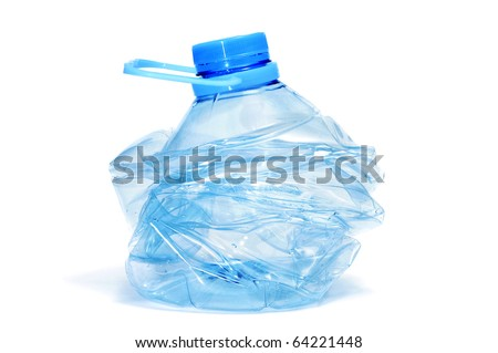 smashed plastic bottle isolated on a white background on a white background
