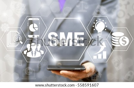 SME or Small and medium-sized enterprises smartphone web business KEY TO SUCCESS concept #558591607