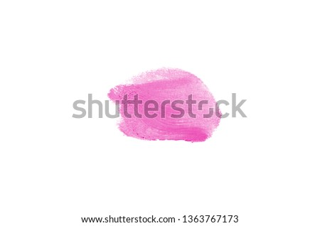 Smear and texture of lipstick or acrylic paint isolated on white background. Stroke of lipgloss or liquid nail polish swatch smudge sample. Element for beauty cosmetic design. Pink color #1363767173