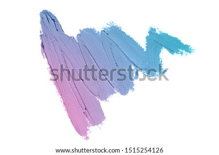 Smear and texture of lipstick or acrylic paint isolated on white background. Stroke of lipgloss or liquid nail polish swatch smudge sample. Element for beauty cosmetic design. Violet blue color