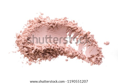 Smear from dry pink cosmetic clay. Texture of  makeup powder - blush or eyeshadow. Isolated on a white background