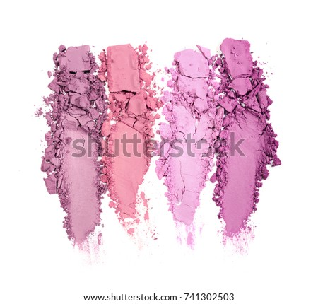 Smear of crushed multicolored eye shadow as sample of cosmetic product isolated on white background