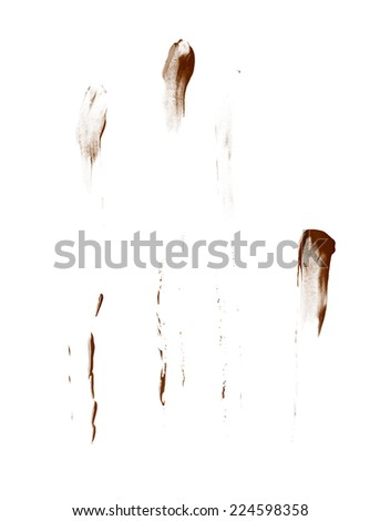 Smeared with the fingers oil paint stains isolated over the white background