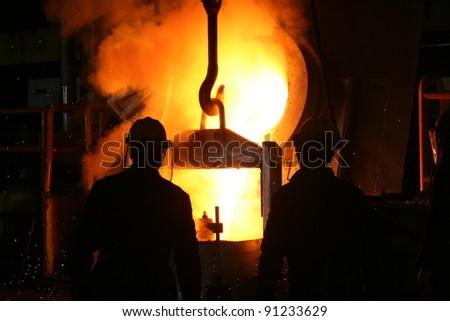 Smelting metal liquid iron foundry