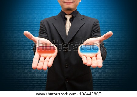 Smile business man and selection - stock photo