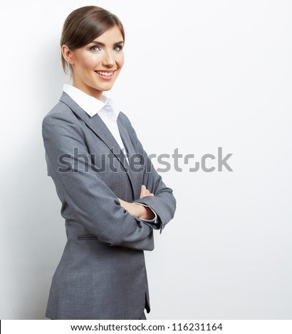 Smile Business woman portrait isolated. Female model with long hair.