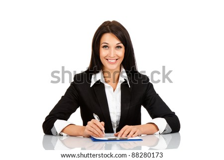 Smile business woman sitting on her desk holding a pen working with documents sign up contract isolated over white background
