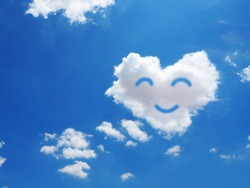 smile clouds in the blue sky