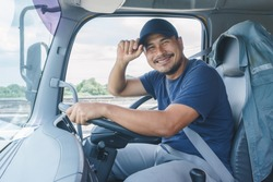 Smile Confidence Young Man Professional Truck Driver In Business Long transport