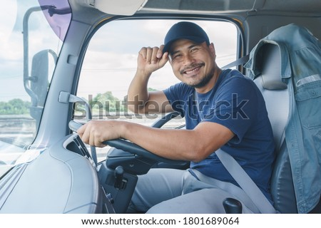 Smile Confidence Young Man Professional Truck Driver In Business Long transport Foto d'archivio ©