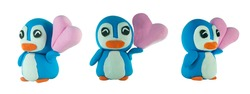 smile Cute plasticine  penguin with pink heart concept love or valentine on white background